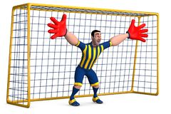 Goalkeeper. Football goalkeeper in striped form and red gloves prepared to hit the ball. 3D illustration Stock Photo