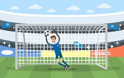 Goalkeeper on gates. Playing in soccer on the stadium Royalty Free Stock Photos