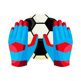 Goalkeeper gloves and a ball icon, cartoon style Stock Photo