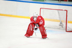 Goalkeeper on hockey match Stock Photo