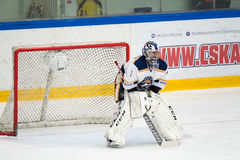 Goalkeeper at hockey match between the teams Royalty Free Stock Photography
