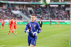 Goalkeeper Igor Akinfeev on the game Royalty Free Stock Images