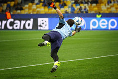 Goalkeeper Iker Casillas of FC Porto. KYIV, UKRAINE - SEPTEMBER 16, 2015: Goalkeeper Iker Casillas of FC Porto trains before UEFA Champions League game against royalty free stock photos