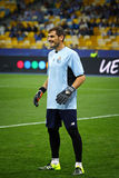 Goalkeeper Iker Casillas of FC Porto. KYIV, UKRAINE - SEPTEMBER 16, 2015: Goalkeeper Iker Casillas of FC Porto trains before UEFA Champions League game against stock image