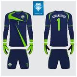 Goalkeeper jersey or soccer kit, long sleeve jersey, goalkeeper glove template design. t-shirt mock up. Front, back view uniform. Goalkeeper jersey or soccer vector illustration