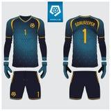 Goalkeeper jersey or soccer kit, long sleeve jersey, goalkeeper glove template design. t-shirt mock up. Front, back view uniform. Goalkeeper jersey or soccer Stock Image