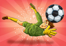 Goalkeeper Jump Catch a Ball Stock Photo