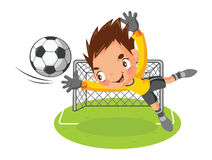 Goalkeeper. Jump catch a ball Royalty Free Stock Photos