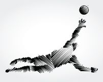 Goalkeeper jumping to catch the ball. Made of black brushstrokes on light background Royalty Free Stock Photography