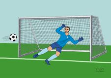 Goalkeeper jumping to catch the soccer ball. Football game. Young athletic champion. Hand drawn vector flat colorful royalty free illustration