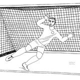 Goalkeeper jumping to catch the soccer ball. Football game. Young athletic champion. Hand drawn vector flat illustration. Black line on white background Royalty Free Stock Images