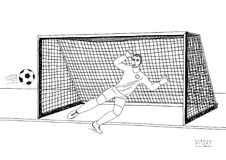 Goalkeeper jumping to catch the soccer ball. Football game. Young athletic champion. Hand drawn vector flat illustration. Black line on white background Stock Photography