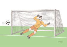 Goalkeeper jumping to catch the soccer ball. Football game. Young athletic champion. Hand drawn vector flat soft color. Illustration Royalty Free Stock Photography