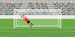 Goalkeeper jumping to catch soccer ball. Goalkeeper jumping to catch soccer ball, football match team players sport championship vector illustration Stock Image