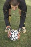 Goalkeeper Keeping The Ball To Hit A Shot Stock Photos