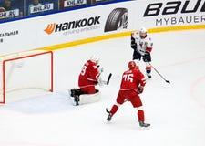 Goalkeeper M. Biryukov 39 in action Stock Photography
