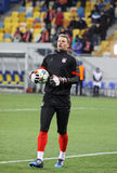 Goalkeeper Manuel Neuer of Bayern Munich. LVIV, UKRAINE - FEBRUARY 17, 2015: Goalkeeper Manuel Neuer of Bayern Munich in action during warm up session before royalty free stock images