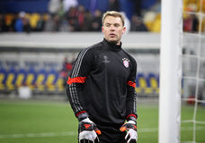 Goalkeeper Manuel Neuer of Bayern Munich. LVIV, UKRAINE - FEBRUARY 17, 2015: Goalkeeper Manuel Neuer of Bayern Munich in action during warm up session before royalty free stock photography