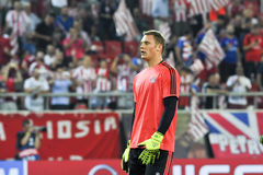 Goalkeeper Manuel Neuer during the UEFA Champions League game be. Athens, Greece- September 16, 2015: Goalkeeper Manuel Neuer during the UEFA Champions League royalty free stock photo