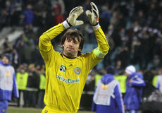 Goalkeeper Oleksandr Shovkovskyi of Dynamo Kyiv Royalty Free Stock Images