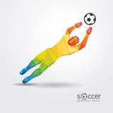 Goalkeeper player geometric design vector. Royalty Free Stock Photos