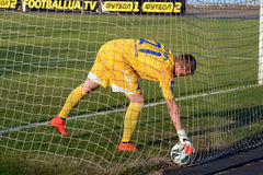 Goalkeeper pulls the ball out of the grid Royalty Free Stock Images