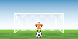 Goalkeeper ready to catch soccer ball at penalty kick on the gat. E, football match team players sport championship vector illustration Royalty Free Stock Photo