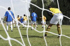 Goalkeeper Ready To Save A Shot From A Score Stock Image