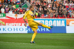 Goalkeeper Roy Carroll on the game Royalty Free Stock Photo