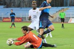 Goalkeeper's saving Stock Image