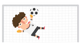A goalkeeper saving a soccer ball on a possible goal Royalty Free Stock Photography