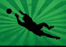 Goalkeeper silhouette. Powerful silhouette of goalkeeper in action on striped background Stock Images