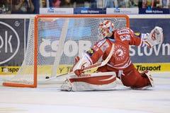 Goalkeeper Simon Hrubec of Trinec. PARDUBICE 20/SEP/2015 _ Match of Czech hockey league HC Pardubice - HC Ocelari Trinec Royalty Free Stock Images