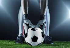 Goalkeeper.Soccer. Fotball match.Championship concept with soccer ball. stock photo