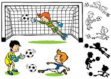 Goalkeeper soccer kids Stock Photography
