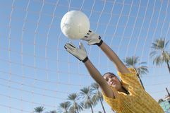 Goalkeeper Stretching To Block Goal Attempt Stock Image