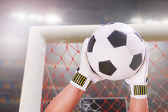 Goalkeeper super save Royalty Free Stock Image