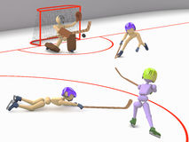 Goalkeeper tries to catch puck. Hockey players puppet men play on ice one striker shooting puck goalkeeper catches and two defenders 3D cutout background royalty free illustration