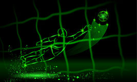 Goalkeeper try to catch the ball. rear view through the net. neon style Royalty Free Stock Image