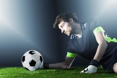 goalkeeper Voetbal Fotballgelijke Kampioenschapsconcept met voetbalbal stock foto