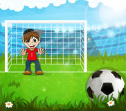 Goalkeeper is waiting for hitting the ball Stock Image