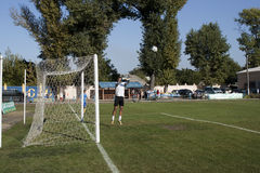 Goalkeeper warming up before the match Stock Image