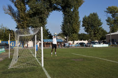 Goalkeeper warming up before the match Stock Photo