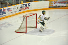 Goalkeeper warmup in NCAA Hockey Game Royalty Free Stock Photo