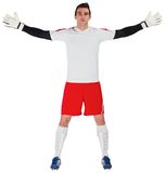 Goalkeeper in white ready to save. On white background royalty free stock images