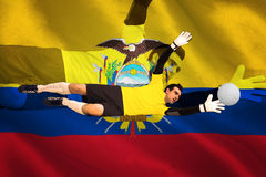 Goalkeeper in yellow making a save Stock Images