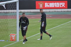 The goalkeepers of AC Milan training in Guangzhou, China Royalty Free Stock Images