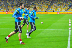 Goalkeepers of Ukrainian team are warming-up Royalty Free Stock Photo