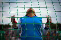 Goalkeeprs bidden Royalty-vrije Stock Foto