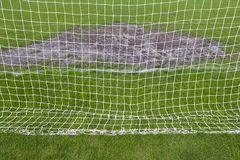 Goalmouth on the football field Stock Photo